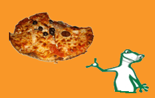KiiWii the Chameleon tosses a Pizza