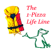 Cartoon chameleon says The 1-Pizza Business Life Lline