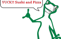 Cartoon chameleon says yuck to sushi and pizza - 1-Pizza Branding