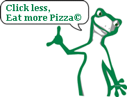 KiiWii says: Click less, Eat more Pizza. ©  1-Pizza